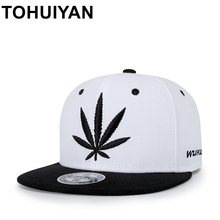TOHUIYAN Unisex Hempleaf Embroidery Snapback Cap Flat Visor Hip Hop Baseball Hats Men Women Adjustable Street Dancing Gorras Cap