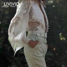 [LIVIVIO] Autumn Embroidery Floral Long Lantern Sleeve Tops Women Elegant Blouses Female Shirt 2019 Spring Fashion Clothing New