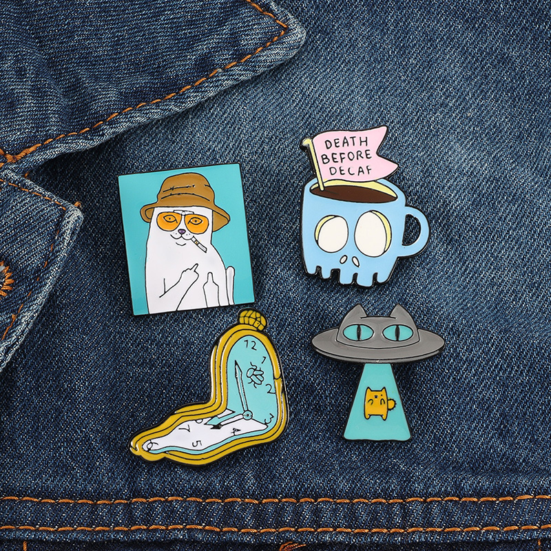 Cute cartoon enamel pin Naughty cat blue Skull  coffee cup Alien brooch badge school bag hat accessories girl boy gift