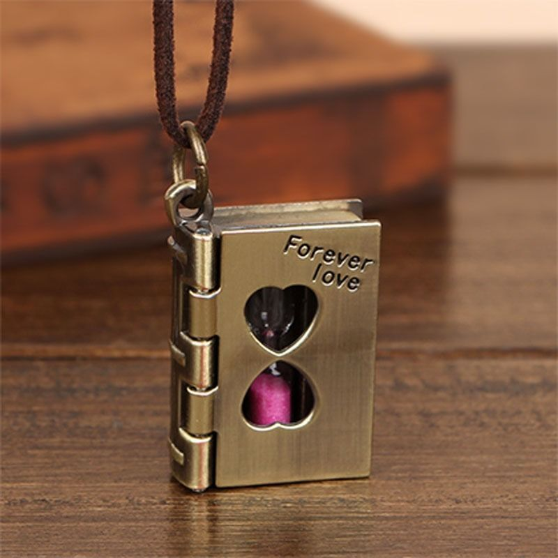 New Fashion books sand clock hourglass design long necklace vintage jewelry pendant necklace for lovers accessories VC968 P0.40