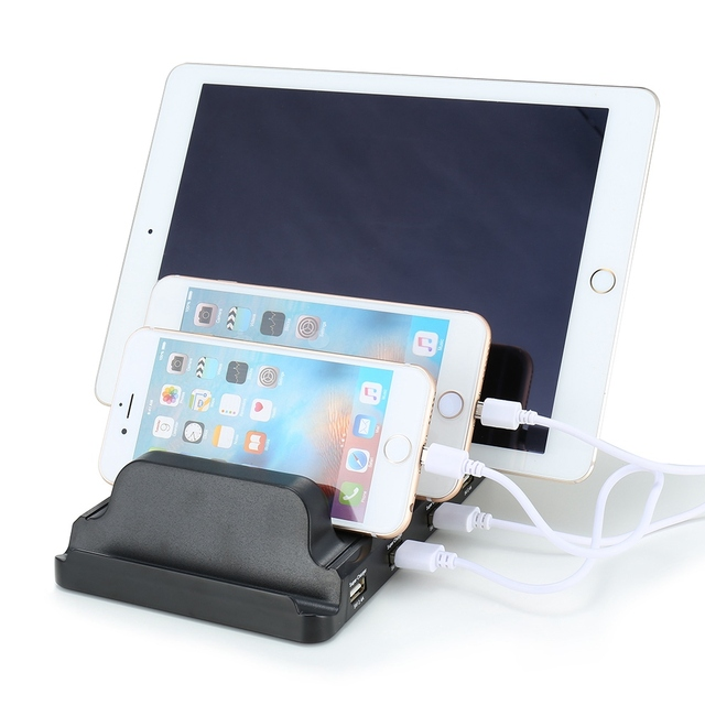 USB Charging Station 4-Ports EU US UK Plug 2.4A USB Fast Charger Stand Bracket Quick Charging for Multiple Android Apple devices