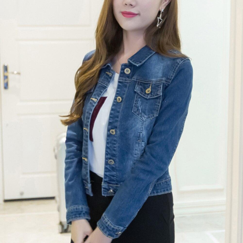 HTB1.VlUaO 1gK0jSZFqq6ApaXXaH Women Short Jeans Jacket Slim Turn Down Collar Long Sleeve Button Denim Outwear New Chic Vintage