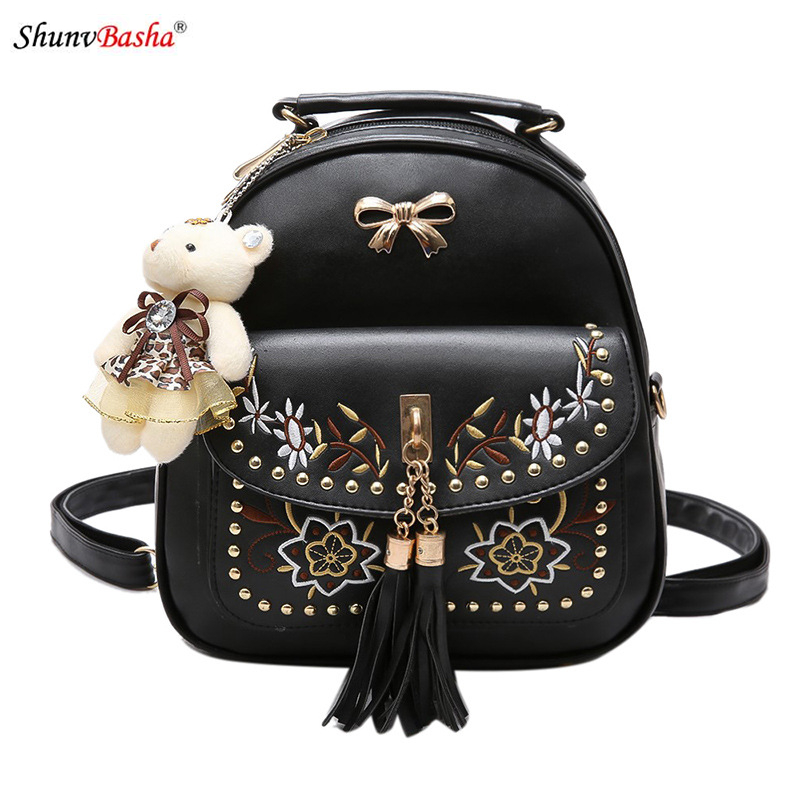 Embroidered Rivet Shoulder Bag European and American women casual backpack 2017 summer new multi functional pu