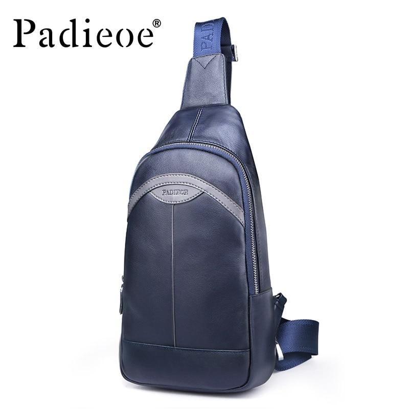 Padieoe D'épaule de cuir véritable, homme du ventre Sac sacs de ceinture sac de poitrine décontracté Épaule sac à dos porté en écharpe De Mode Bandoulière Sacs Bleu