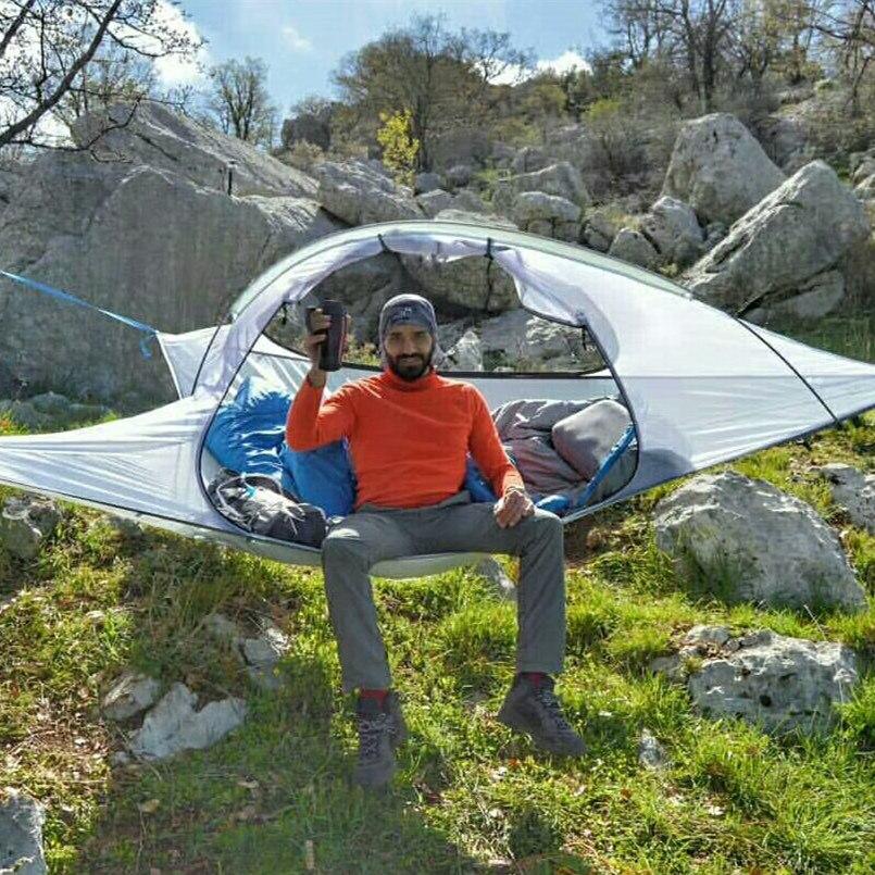 Tente de Camping SKYSURF 2 personnes Portable imperméable à l'eau suspendus arbre tente Triangle Suspension suspendus Camping tentes hamac tentes
