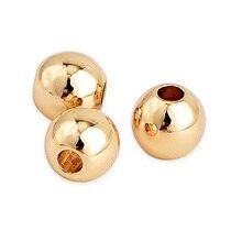 100 sztuk/partia 6mm Charm Gold Fill koraliki do biżuterii DIY ustalenia ręcznie robiona bransoletka naszyjnik Spacer koraliki akcesoria do wyrobu biżuterii