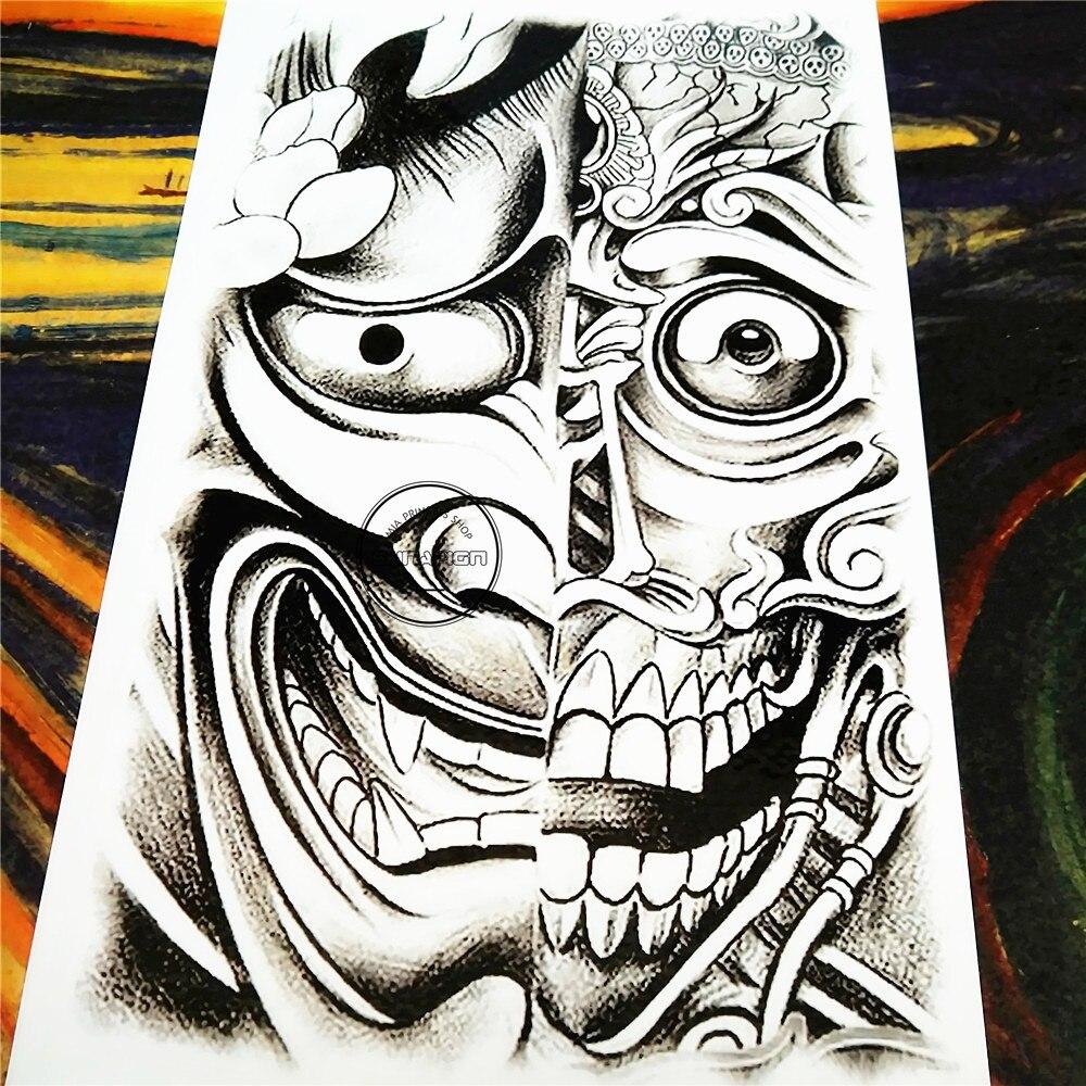 Shnapign Black Two Face Temporary Tattoo Body Art 1220cm Flash