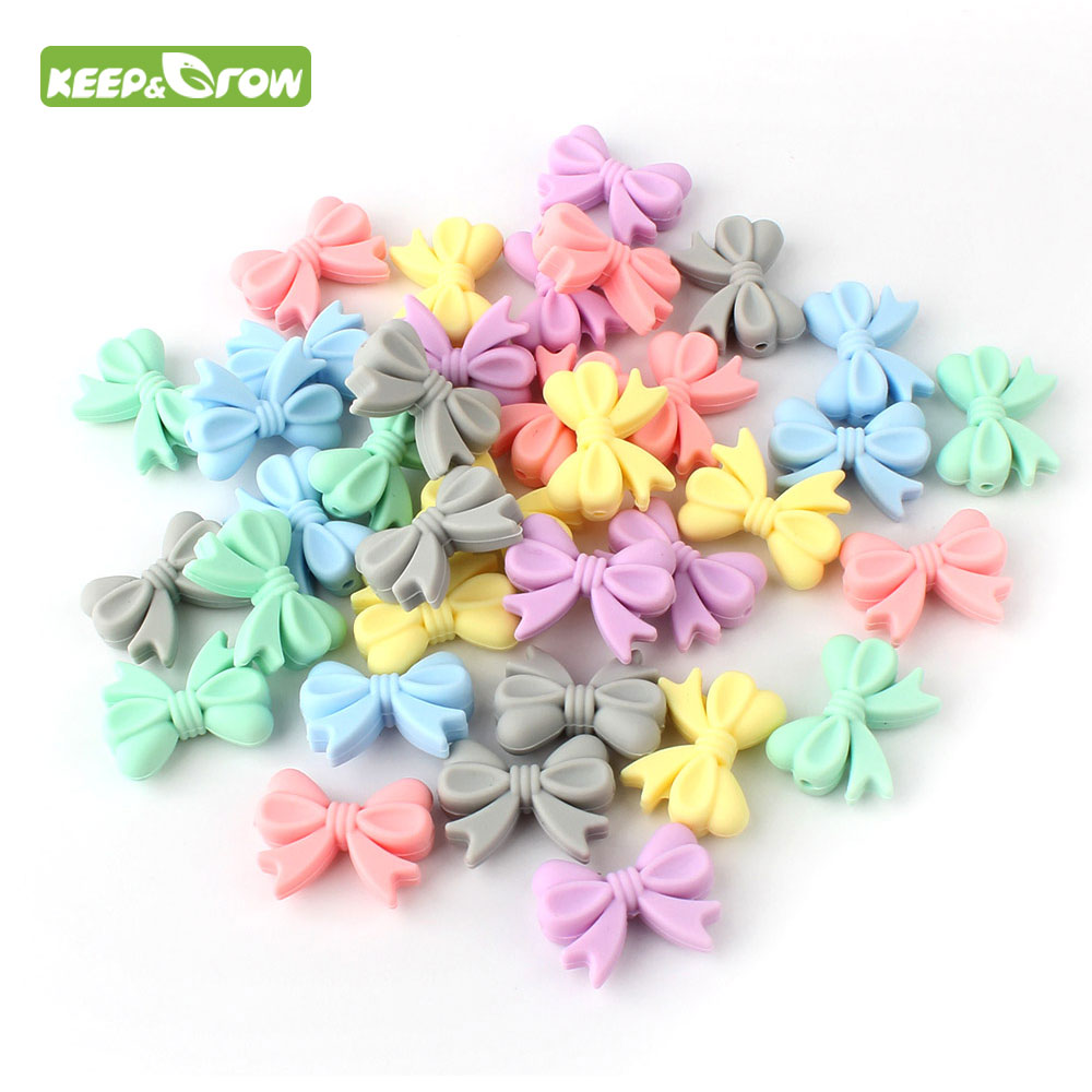 KEEP&GROW 10pcs Bow Tie Silicone Beads BPA Free Teethers Bowknot Baby Teething Beads DIY Necklace Making Pacifier Baby Products