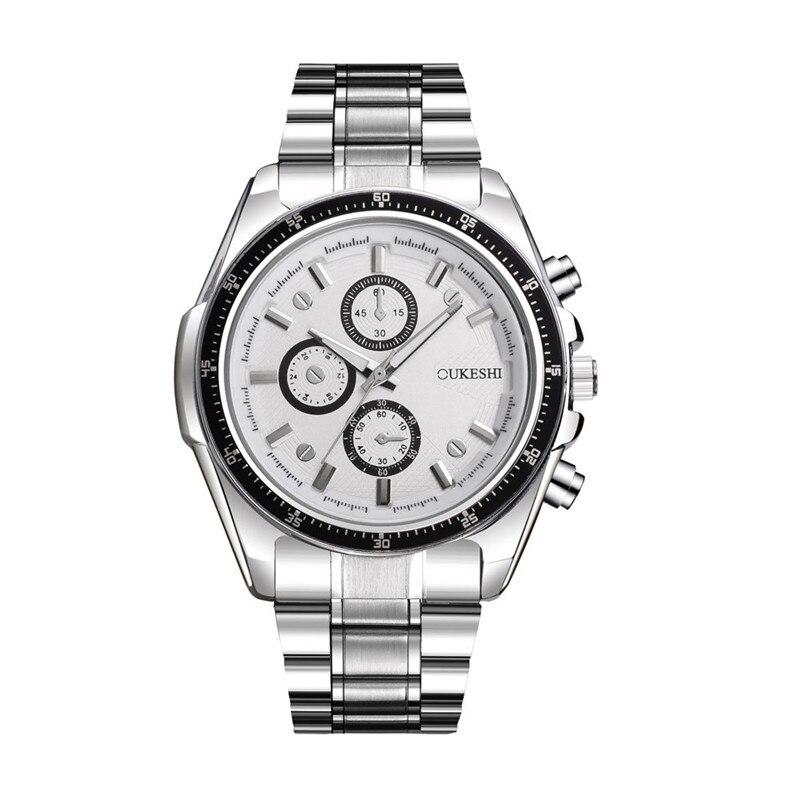2017 Luxury Fashion Men Luxury Stainless Steel Quartz Military Sport Steel Band Dial Wrist Watch blue shope #3005