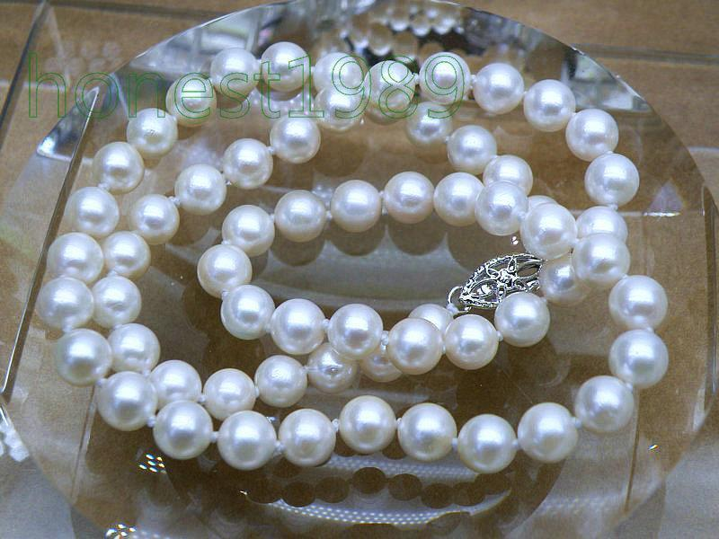 STUNNING GIFT 7-7.5mm AAA+ fine round white akoya pearl necklace 14K solid gold цена и фото