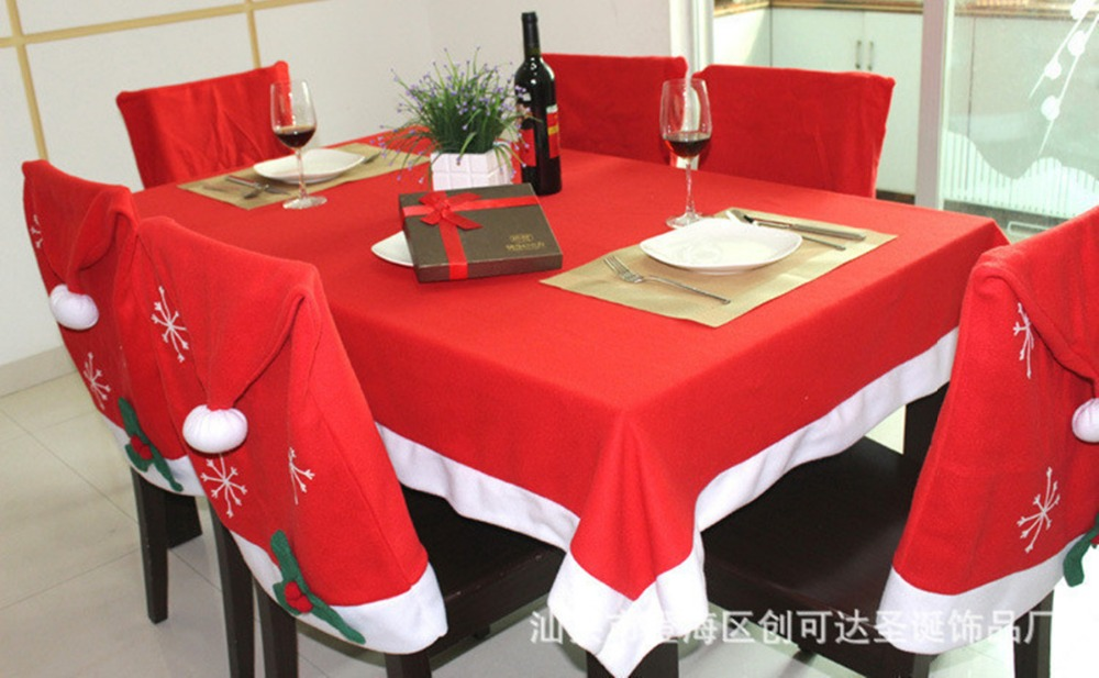 Christmas Decoration Tablecloth and 6 Chair Covers For Christmas Party Restaurant Banquet Decorations Table Cover 184*128cm