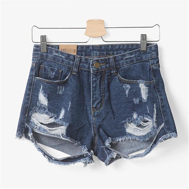 Mulheres verão Calções Destruídas Europeu Feminino Short Jeans Zipper Denim Sujo Borla Qualidade Super Lady Desfiado Buraco Feminino D027