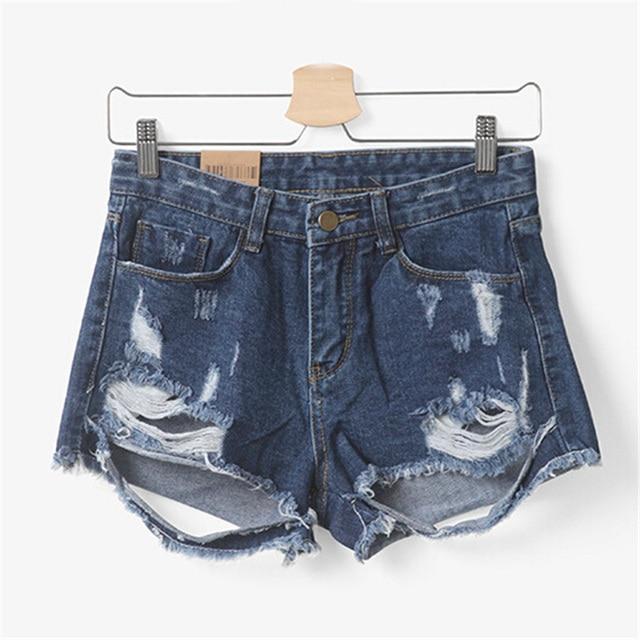 Summer Women Destroyed Shorts European Feminino Short Jeans Zipper Denim Dirty Tassel Super Quality Lady Frayed Hole Female D027