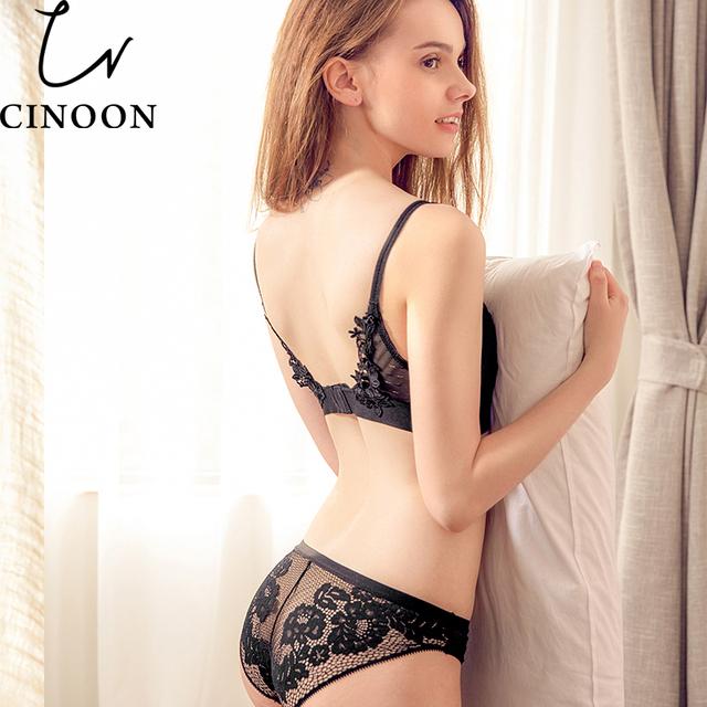 CINOON 2017 New Fashion Women Lace Bra Set High Quality Underwear Sexy Woman Lingerie Push Up Bra Sets Unlined Bra & Brief Set