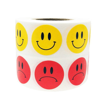 New Trend 500 Labels Per Roll Yellow Smiley Face Happy Stickers and Red Sad Face Stickers for Teachers Round Circle Dots цены