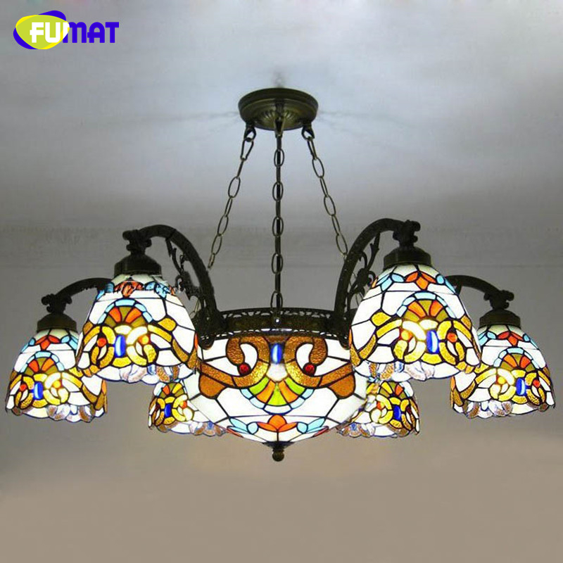 FUMAT Glass Pendant Lamps European Style Stained Glass Lamp For Living Room Glass Art Pendant Light Resturant LED Pendant Lamp fumat stained glass pendant lamps european style baroque lights for living room bedroom creative art shade led pendant lamp