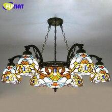 FUMAT Glass Pendant Lamps European Style Stained Glass Lamp For Living Room Glass Art Pendant Light Resturant LED Pendant Lamp