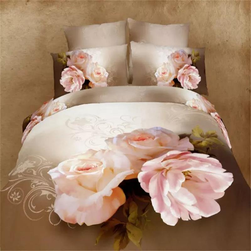 pink chinese rose flowers wedding bedding sets queen size 100 cotton bedroom set 3d painting duvet cover bedsheet bed in a bag