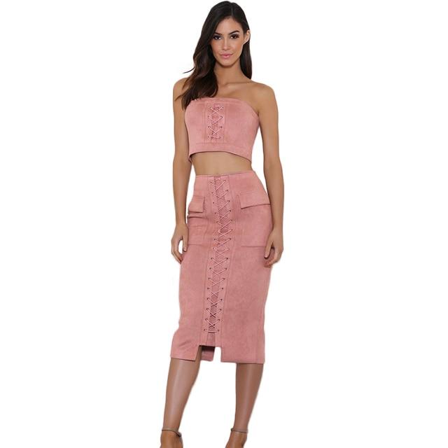 aa6bb13b8e1 2019 Runway Women Faux Suede Crop Top Skirt Set 2 Piece Top High Waist Midi  Skirt