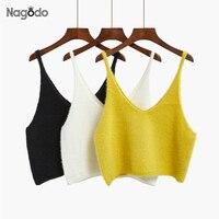 NAGODO Summer Short Crop Tops Outside Loose Knitted Tank Top V Neck Blusa Cropped Crochet Vest