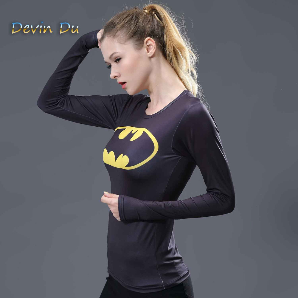 Women T-shirt Bodys Marvel costume superman/batman T Shirt Long Sleeve Girl Fitness Tights Compression tshirts image