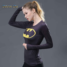 Frauen T-shirt Bodys Marvel kostüm superman/batman T Shirt Langarm Mädchen Fitness Strumpfhosen Compression t-shirts(China)