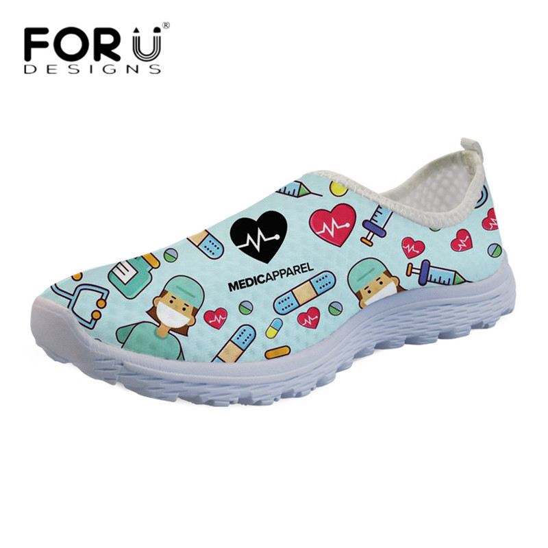 FORUDESIGNS Fashion Nursing Shoes Women Carton Nurse Heartbeat Design Breathable Mesh Running Sneakers For Ladies Casual Flats