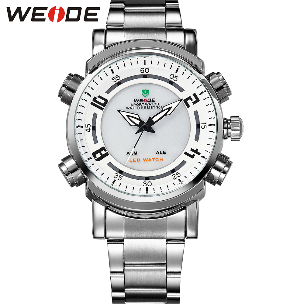 ФОТО WEIDE Popular Brand Silver Stainless Steel Watch Men 30m Waterproof LED Analog Quartz Watch With Alarm Backlight Gifts For Men