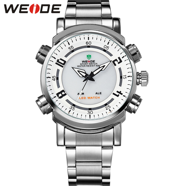 WEIDE Popular Brand Silver Stainless Steel Watch Men 30m Waterproof LED Analog Quartz Watch With Alarm Backlight Gifts For Men