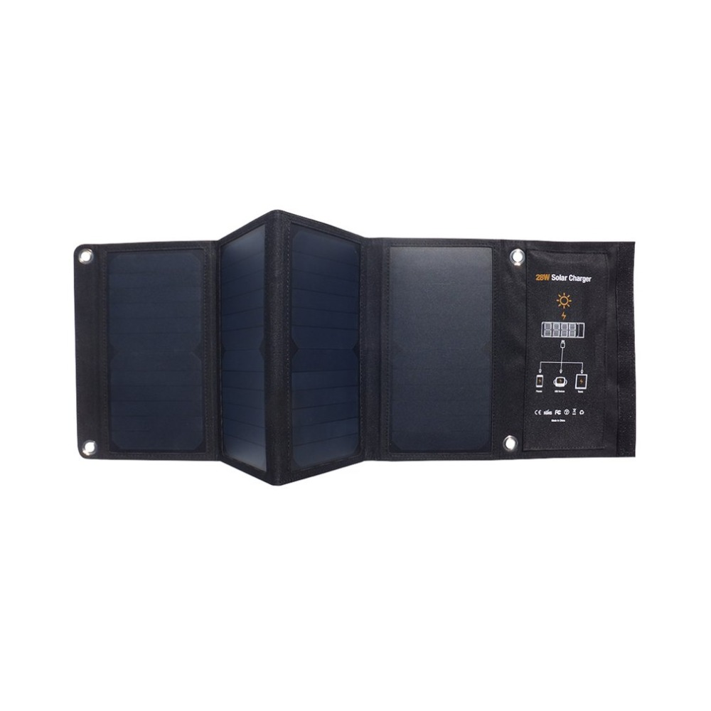 28W Waterproof Foldable Outdoor Solar Panel USB Charging Battery Charger Foldable Solar Charging Bag For Smart Phones