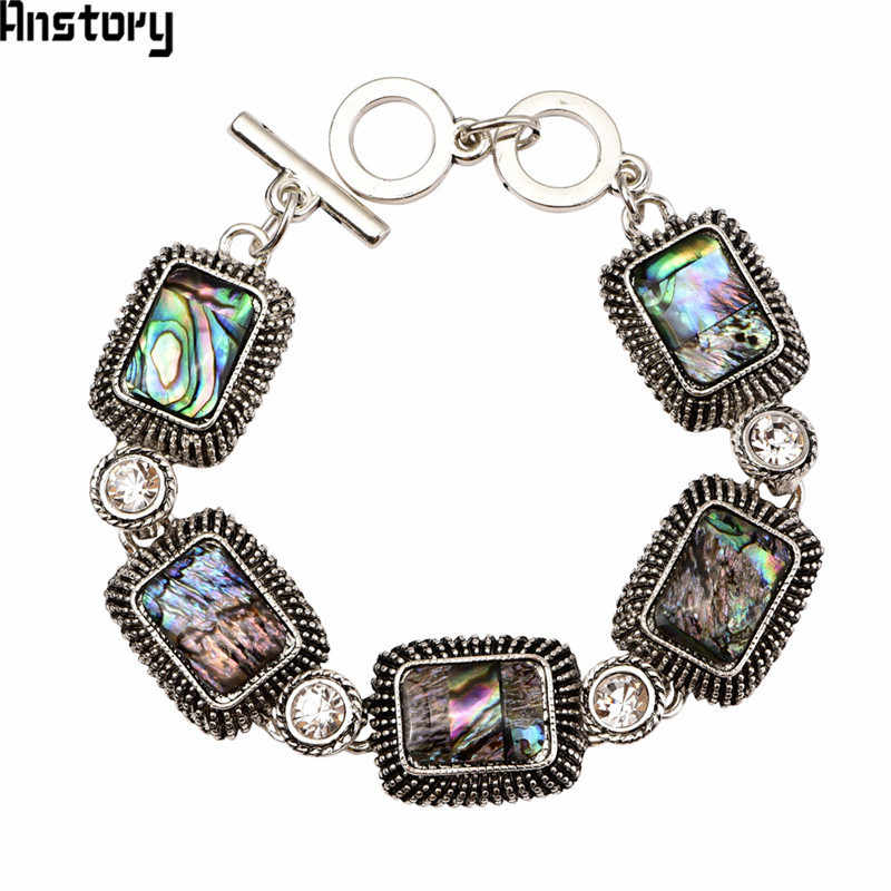 Oblong Shell Crystal Bracelet For Women Vintage Antique Silver Plated Flower Fashion Jewelry TB318