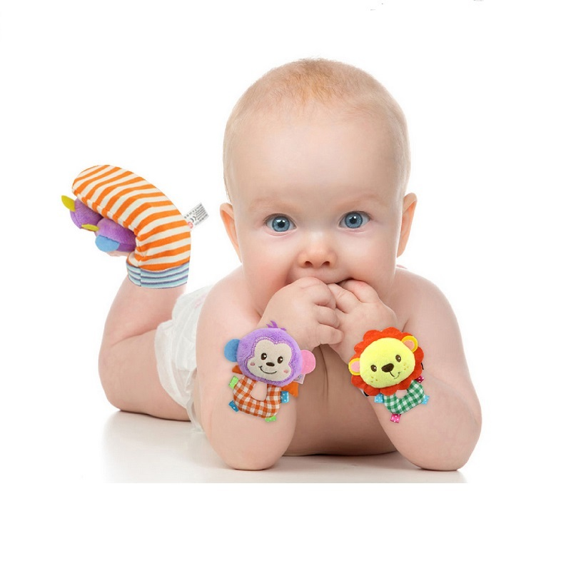 Happy Monkey 2pcs / pair Animal Baby Socks Baby Rattle Toys Bed Bells For Newborn Infant Brinquedos Gjør Bebe KF052