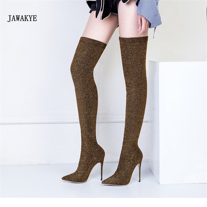 2017 Bling Sequins Sock Boots Women Pointed Toe Sexy High Heel Shoes Woman Newest Fashion Knit Over The Knee Stretch Boots black stretch fabric suede over the knee open toe knit boots cut out heel thigh high boots in beige knit elastic sock long boots