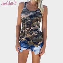 ФОТО jaswell 2018 new women fashion casual army camo camouflage top sleeveless o-neck slim print t-shirt