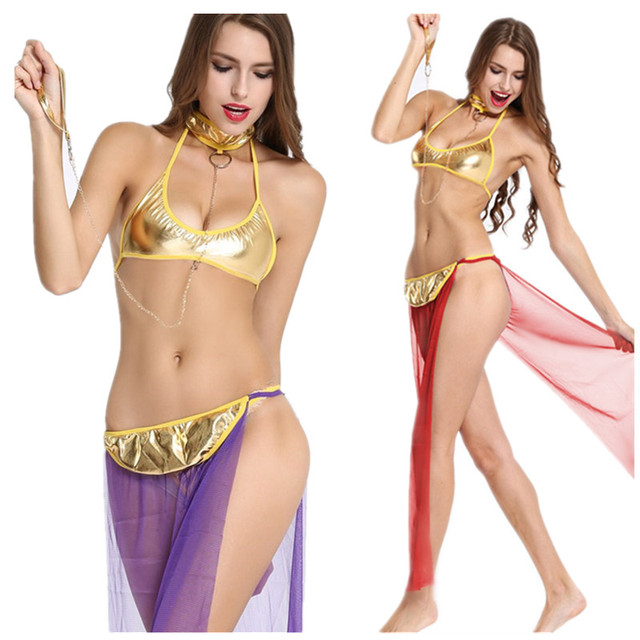 sexy lingerie women Novelty & Special Use sexy costumes Exotic Apparel underwear bra + skirts + Neck chain sets hot cosplay slip