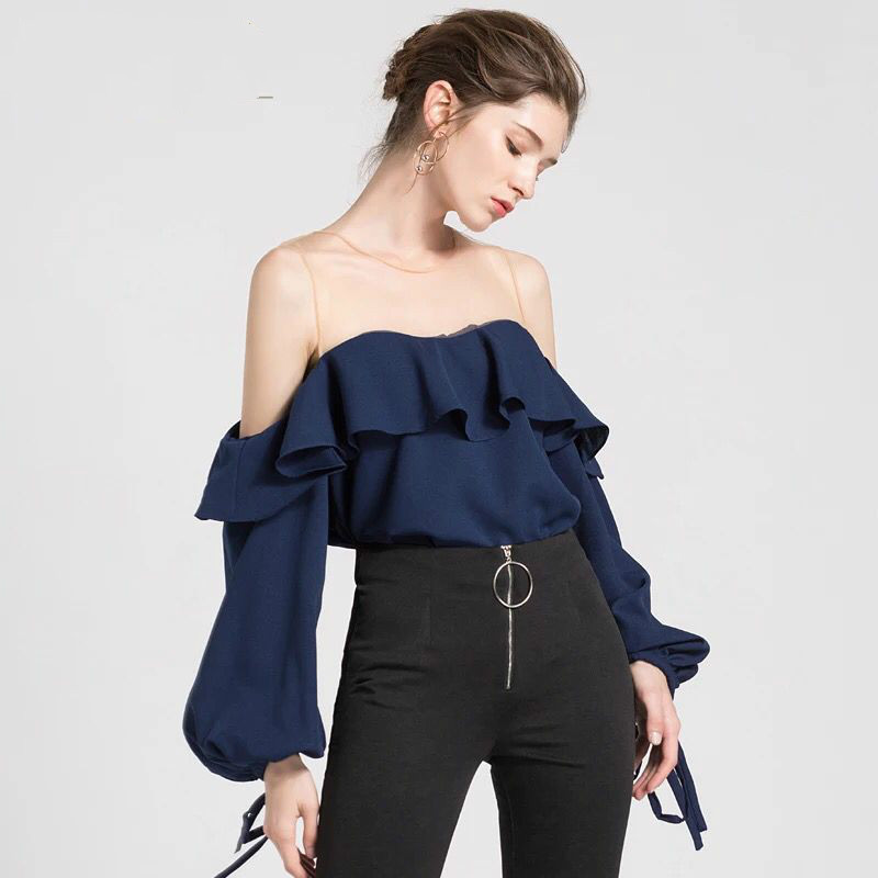 Runway Women Blouse Sexy See Through Voile Patchwork Ruffles Lantern Sleeve Blusa 2018 Summer Top Female Shirt Lady Camisa New