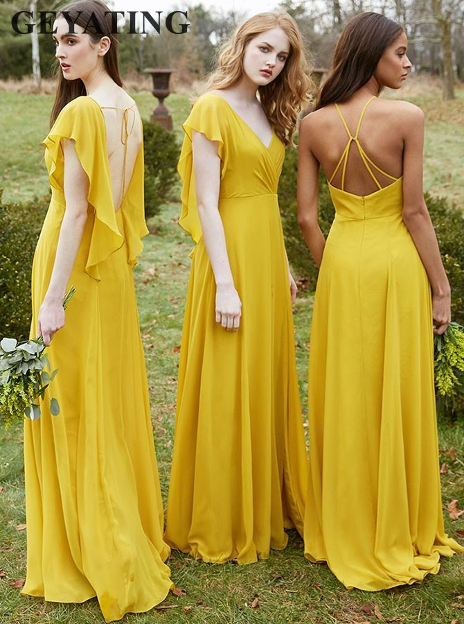 Gold Yellow Chiffon   Bridesmaid     Dress   with Ruffles Cap Sleeves V-Neck Long Country Formal Party   Dress   for Weddings Guest Gowns