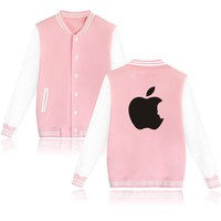 Classic Apple Design Steven Jobs Print autumn New Print Women Baseball Jacket, PINK Girls Coats and Jackets XXS 4XL