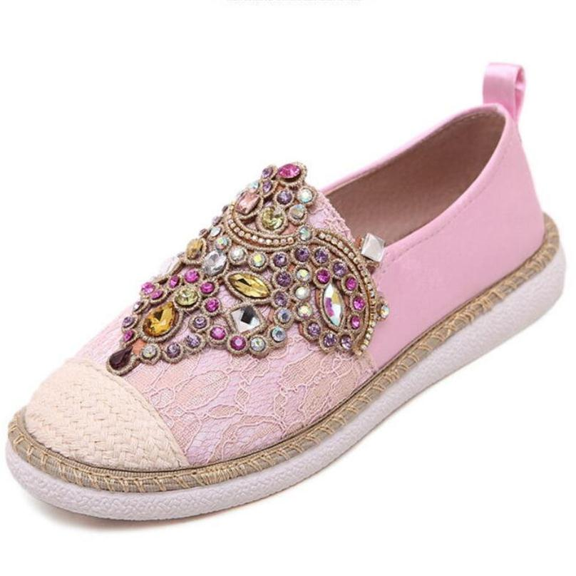 Spring Autumn Women Casual Flat Shoes Gem Round Toe loafers Fisherman Espadrilles Woman lazy Hemp Rope