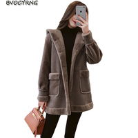 2018 Autumn Winter Suede Leather Jacket New Women Hooded Jacket High Quality Faux Lambs Wool Coat Loose Shearling Coats Female