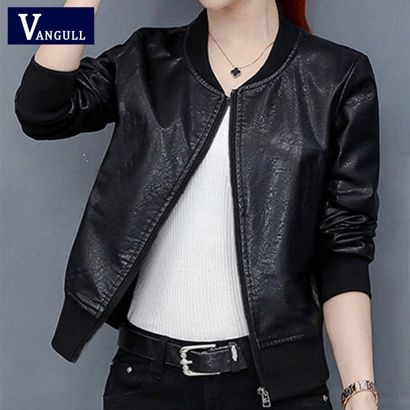 Vangull 2019 New Spring Leather Jacket Women Black Color Mandarin Collar Zippers Short Female Faux Leather Jackets High Quality