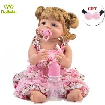 55cm Full Silicone Vinyl Reborn Doll Princess Realistic Newborn Baby Bebe Alive Toy Birthday Gift Girls Play House Bathe Toy