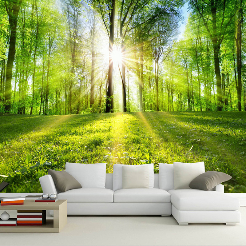 Custom Wall Cloth Wallpaper 3D Forest Sunshine Nature Landscape Wall Mural Living Room TV Sofa Bedroom Home Decor Wall Coverings