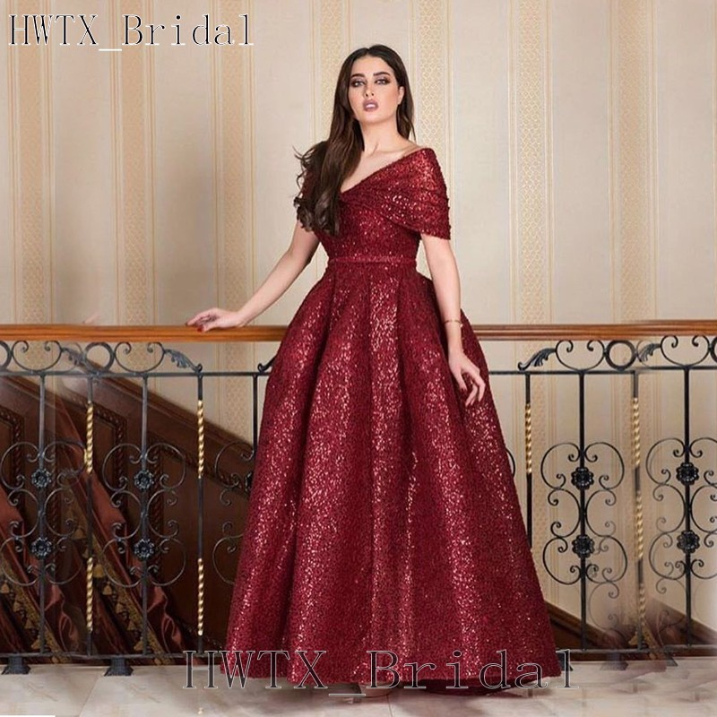 US $159.2 20% OFF|Yousef Aljasmi Burgundy Sequined Mother Of The Bride  Dresses Plus Size Ball Gown 2018 Arabic Off Shoulder Evening Formal  Dress-in ...
