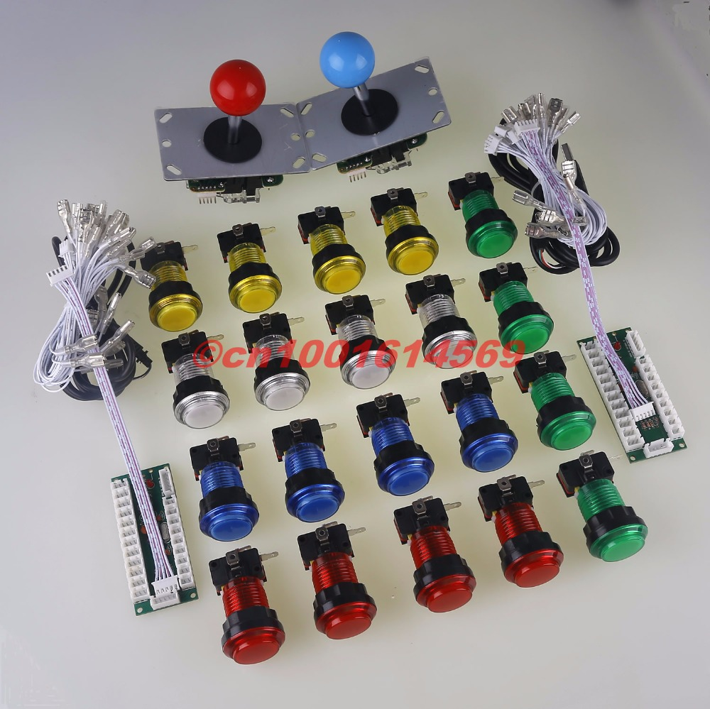 New 2 Player Arcade Game DIY Kits Control Parts 2x USB Encoder To PC Joystick + 2 X Arcade Rocker + 20 X LED Illuminated Buttons шины nokian hakkapeliitta 8 suv 275 40 r21 107t xl
