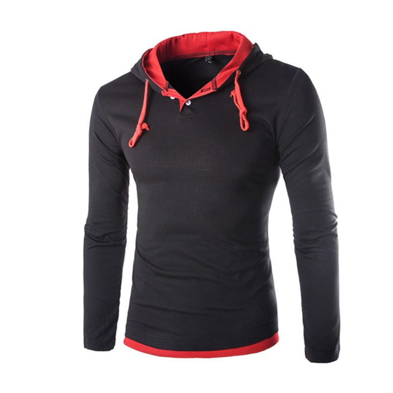 2018 Autumn Long Sleeve Hooded T shirt Men Slim Fit Hooded T shirts Pullover Hoodies Tops