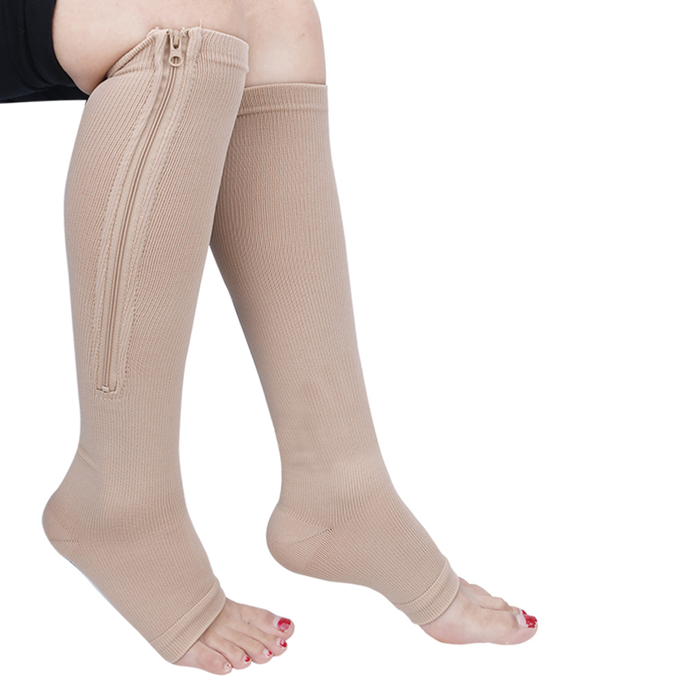 #M-L 1 Pair Black/Nude Womens Compression Knee High Open Toe Socks Leg Support Stockings with Zipper Closure