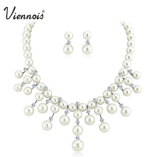 Viennois Silver Drop Crystal Rhinestone Faux Pearl Earrings Necklace Jewelry Set Wedding Party new women free shipping faux pearl metal circle drop earrings