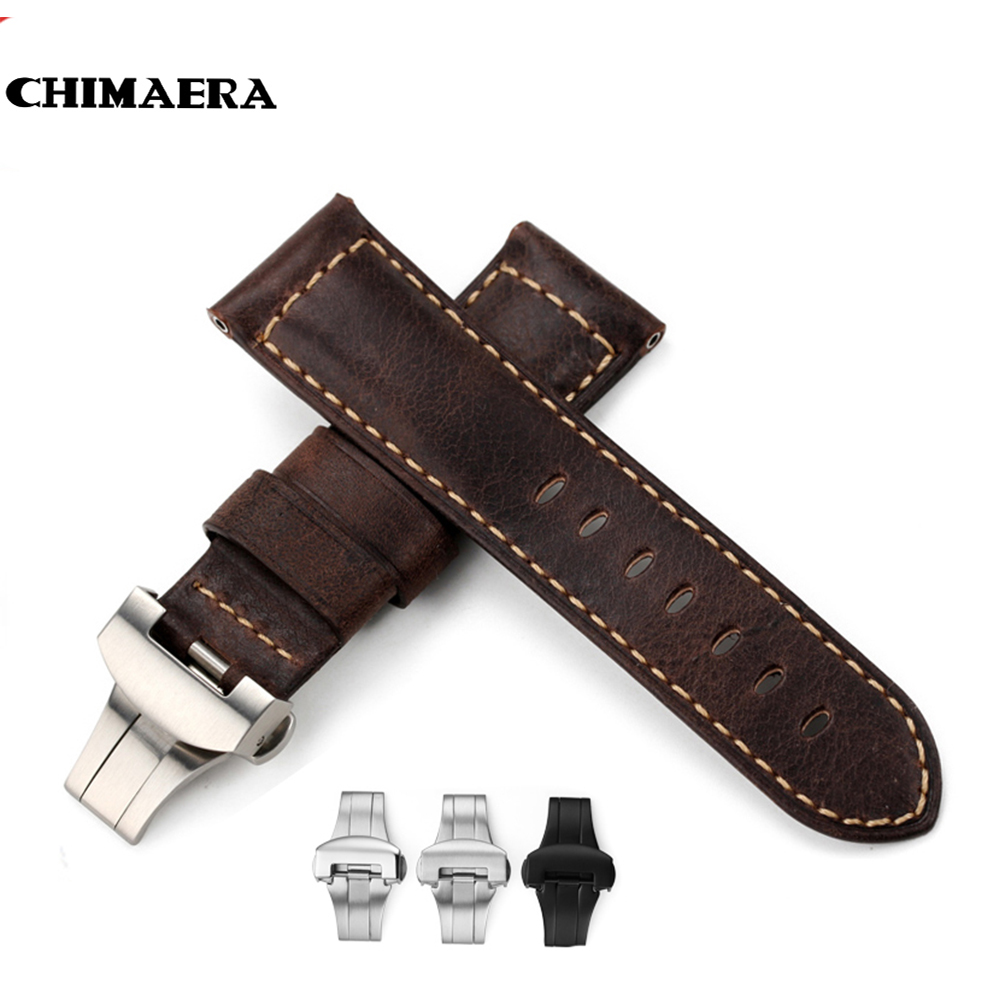 CHIMAERA Handmade Genuine  Italian Leather Watch Band Strap Belt Bracelet Dark Brown Mens fit Butterfly buckle for Panerai 24mm new arrive top quality oil red brown 24mm italian vintage genuine leather watch band strap for panerai pam and big pilot watch