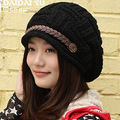 2017 Ladies Winter Knitted Cute Hairball Skull Beanies Women Thick Warm Headgear Headdress Hat Braid Ear Caps ZL155
